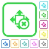 Cancel size vivid colored flat icons - Cancel size vivid colored flat icons in curved borders on white background
