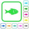 Fish vivid colored flat icons - Fish vivid colored flat icons in curved borders on white background