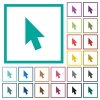 Mouse cursor flat color icons with quadrant frames - Mouse cursor flat color icons with quadrant frames on white background