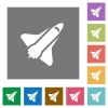 Space shuttle square flat icons - Space shuttle flat icons on simple color square backgrounds