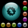 Discount sticker icons in color illuminated glass buttons - Discount sticker icons in color illuminated spherical glass buttons on black background. Can be used to black or dark templates
