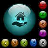 Home insurance icons in color illuminated glass buttons - Home insurance icons in color illuminated spherical glass buttons on black background. Can be used to black or dark templates