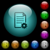 Document setup icons in color illuminated glass buttons - Document setup icons in color illuminated spherical glass buttons on black background. Can be used to black or dark templates