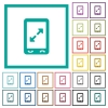 Mobile pinch open gesture flat color icons with quadrant frames - Mobile pinch open gesture flat color icons with quadrant frames on white background