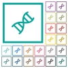 DNA molecule flat color icons with quadrant frames - DNA molecule flat color icons with quadrant frames on white background