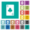 Nine of clubs card square flat multi colored icons - Nine of clubs card multi colored flat icons on plain square backgrounds. Included white and darker icon variations for hover or active effects.