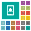Mobile alarm square flat multi colored icons - Mobile alarm multi colored flat icons on plain square backgrounds. Included white and darker icon variations for hover or active effects.