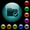 Directory ok icons in color illuminated glass buttons - Directory ok icons in color illuminated spherical glass buttons on black background. Can be used to black or dark templates