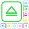 Media eject vivid colored flat icons - Media eject vivid colored flat icons in curved borders on white background