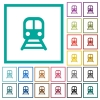 Train flat color icons with quadrant frames - Train flat color icons with quadrant frames on white background