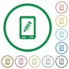 Mobile memo flat icons with outlines - Mobile memo flat color icons in round outlines on white background