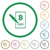 Signing Bitcoin cheque flat icons with outlines - Signing Bitcoin cheque flat color icons in round outlines on white background