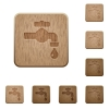Water faucet with water drop wooden buttons - Water faucet with water drop on rounded square carved wooden button styles
