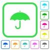 Umbrella vivid colored flat icons - Umbrella vivid colored flat icons in curved borders on white background