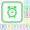 Alarm clock vivid colored flat icons - Alarm clock vivid colored flat icons in curved borders on white background