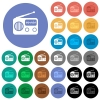 Vintage retro radio multi colored flat icons on round backgrounds. Included white, light and dark icon variations for hover and active status effects, and bonus shades on black backgounds. - Vintage retro radio round flat multi colored icons