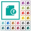 Indian Rupee financial report flat color icons with quadrant frames - Indian Rupee financial report flat color icons with quadrant frames on white background
