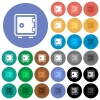 Single strong box round flat multi colored icons - Single strong box multi colored flat icons on round backgrounds. Included white, light and dark icon variations for hover and active status effects, and bonus shades on black backgounds.