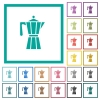 Coffee maker flat color icons with quadrant frames - Coffee maker flat color icons with quadrant frames on white background