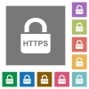 Secure https protocol flat icons on simple color square backgrounds - Secure https protocol square flat icons