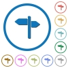 Signpost icons with shadows and outlines - Signpost flat color vector icons with shadows in round outlines on white background