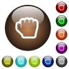 Grab cursor color glass buttons - Grab cursor white icons on round color glass buttons