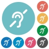 Hearing impaired flat round icons - Hearing impaired flat white icons on round color backgrounds