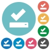 Successfully saved flat round icons - Successfully saved flat white icons on round color backgrounds