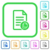 Copy document vivid colored flat icons - Copy document vivid colored flat icons in curved borders on white background