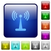 Wlan network color square buttons - Wlan network icons in rounded square color glossy button set