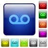 Voicemail color square buttons - Voicemail icons in rounded square color glossy button set