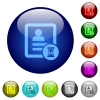 Contact processing color glass buttons - Contact processing icons on round color glass buttons