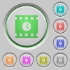 Movie playing time push buttons - Movie playing time color icons on sunk push buttons