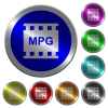 MPG movie format luminous coin-like round color buttons - MPG movie format icons on round luminous coin-like color steel buttons