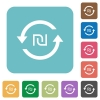 New Shekel pay back white flat icons on color rounded square backgrounds - New Shekel pay back rounded square flat icons