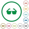 Sunglasses flat icons with outlines - Sunglasses flat color icons in round outlines on white background