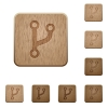 Code fork wooden buttons - Code fork on rounded square carved wooden button styles
