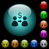 Send dollars icons in color illuminated glass buttons - Send dollars icons in color illuminated spherical glass buttons on black background. Can be used to black or dark templates