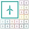 Wind turbine flat color icons with quadrant frames on white background - Wind turbine flat color icons with quadrant frames