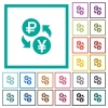 Ruble Yen money exchange flat color icons with quadrant frames - Ruble Yen money exchange flat color icons with quadrant frames on white background