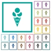 Ice cream flat color icons with quadrant frames - Ice cream flat color icons with quadrant frames on white background