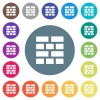 Brick wall flat white icons on round color backgrounds - Brick wall flat white icons on round color backgrounds. 17 background color variations are included.