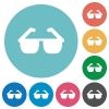 Sunglasses flat round icons - Sunglasses flat white icons on round color backgrounds