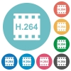 H.264 movie format flat round icons - H.264 movie format flat white icons on round color backgrounds