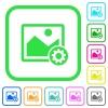 Image settings vivid colored flat icons - Image settings vivid colored flat icons in curved borders on white background