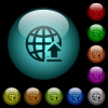 Upload to internet icons in color illuminated glass buttons - Upload to internet icons in color illuminated spherical glass buttons on black background. Can be used to black or dark templates