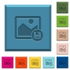 Save image engraved icons on edged square buttons - Save image engraved icons on edged square buttons in various trendy colors