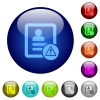Contact warning color glass buttons - Contact warning icons on round color glass buttons