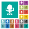 Office chair square flat multi colored icons - Office chair multi colored flat icons on plain square backgrounds. Included white and darker icon variations for hover or active effects.
