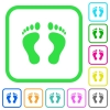Human Footprints vivid colored flat icons in curved borders on white background - Human Footprints vivid colored flat icons